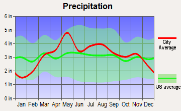 Rensselaer, Missouri average precipitation