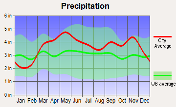 Richland, Missouri average precipitation
