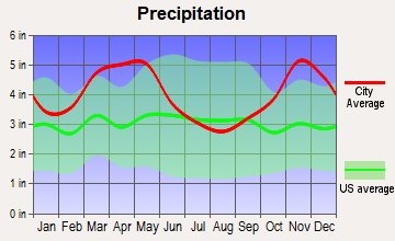 Lake City, Arkansas average precipitation
