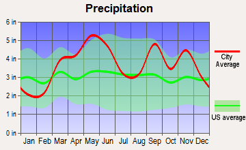 South West City, Missouri average precipitation