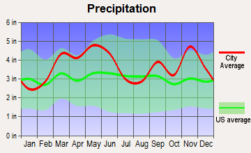Lead Hill, Arkansas average precipitation