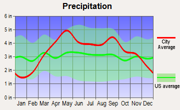 Sweet Springs, Missouri average precipitation