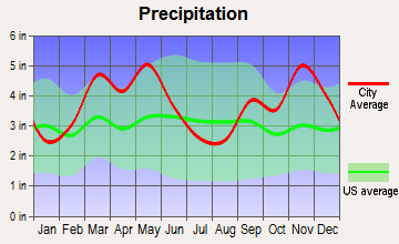 Leslie, Arkansas average precipitation