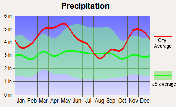 Luxora, Arkansas average precipitation