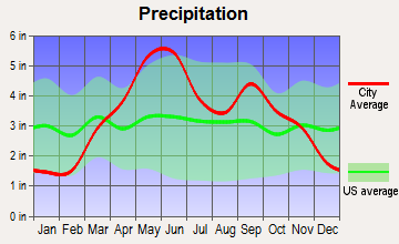 Drexel, Missouri average precipitation