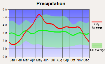 Cole Camp, Missouri average precipitation