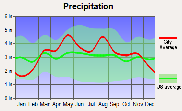 Center, Missouri average precipitation