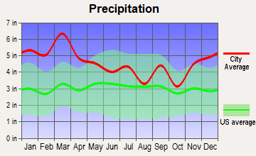 Arab, Alabama average precipitation
