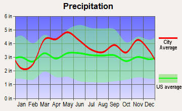 Mountain View, Missouri average precipitation