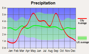 Gallatin, Missouri average precipitation