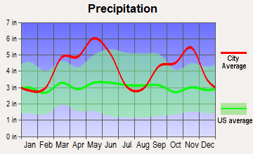 Mountainburg, Arkansas average precipitation