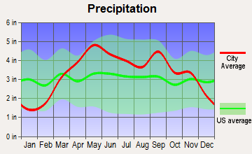 Knob Noster, Missouri average precipitation