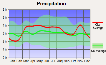 Lakeshire, Missouri average precipitation