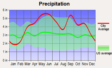 Lamar Heights, Missouri average precipitation