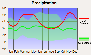 Oak Grove Heights, Arkansas average precipitation