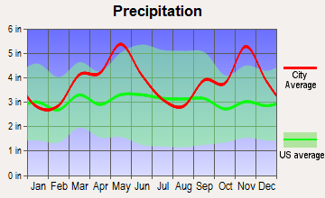 Ozark, Arkansas average precipitation