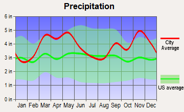 Pineville, Arkansas average precipitation