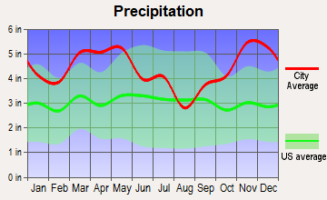 Prattsville, Arkansas average precipitation