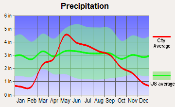 Bruning, Nebraska average precipitation
