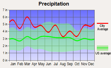 Forestdale, Alabama average precipitation