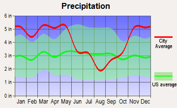 Tillar, Arkansas average precipitation
