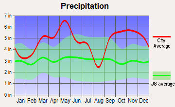 Vandervoort, Arkansas average precipitation