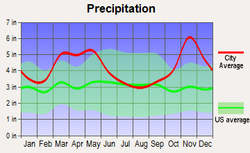 Ward, Arkansas average precipitation