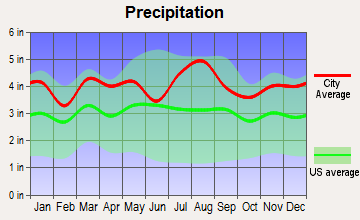Dover Beaches North, New Jersey average precipitation