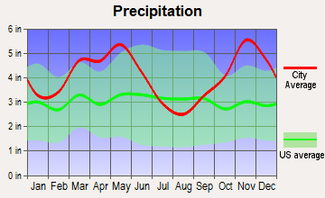 Bigelow, Arkansas average precipitation