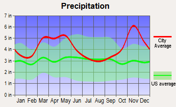 Cabot, Arkansas average precipitation