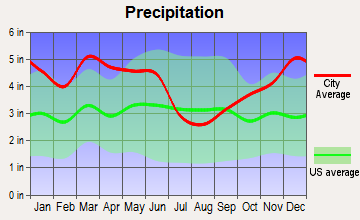 Calion, Arkansas average precipitation