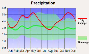 Casa, Arkansas average precipitation