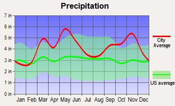 Cedarville, Arkansas average precipitation