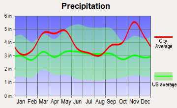 Concord, Arkansas average precipitation