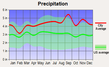 Russia, New York average precipitation