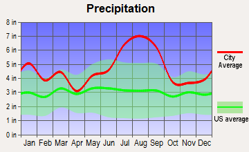 Cedar Point, North Carolina average precipitation
