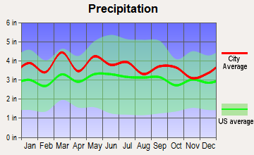 Clemmons, North Carolina average precipitation
