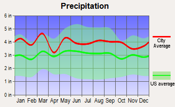 Kings Mountain, North Carolina average precipitation