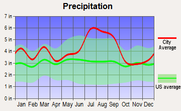 Mount Olive, North Carolina average precipitation