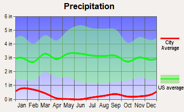 Desert Shores, California average precipitation