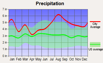 Ocracoke, North Carolina average precipitation