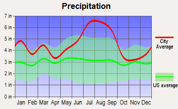Pollocksville, North Carolina average precipitation