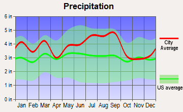 Rocky Mount, North Carolina average precipitation