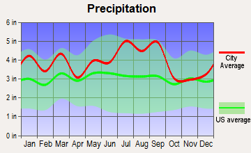 Saratoga, North Carolina average precipitation