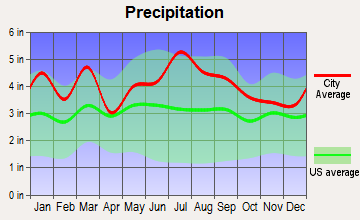 Whispering Pines, North Carolina average precipitation