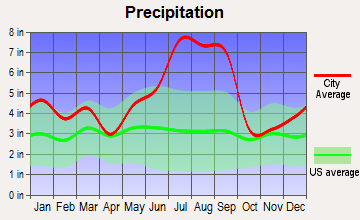 Wrightsville Beach, North Carolina average precipitation