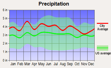 Yadkinville, North Carolina average precipitation