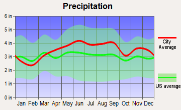 Bedford Heights, Ohio average precipitation