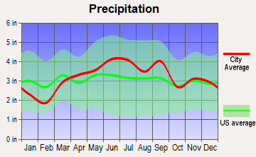 Craig Beach, Ohio average precipitation