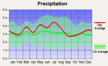 Hanging Rock, Ohio average precipitation